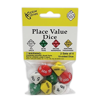 Koplow Games Place Value Dice, 8/ST, 4 ST/BD