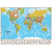 Round World Products Hemispheres® Laminated U.S./World Map, 2/Pack (RWPHMB02PK)