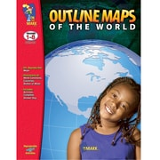 On The Mark Press® Outline Maps of The World Mapping Skills, Grades 1st - 8th, 2 EA/BD