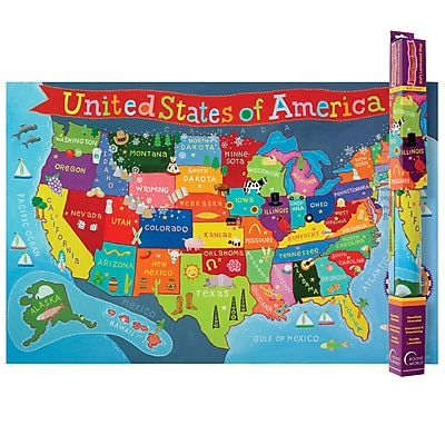 Round World Products United States Map For Kids 24 X 36 Rwpkm02