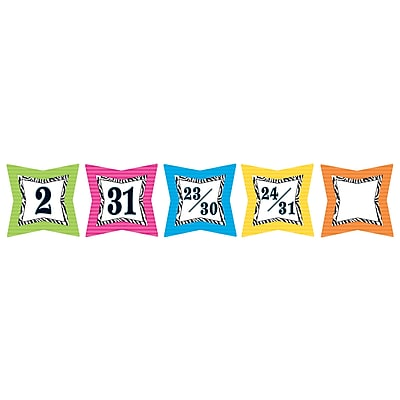 Teacher Created Resources Colorful Days Calendar, Zebra Print, 36/Pack