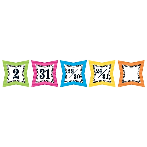 Teacher Created Resources Colorful Days Calendar, Zebra Print, 36/Pack