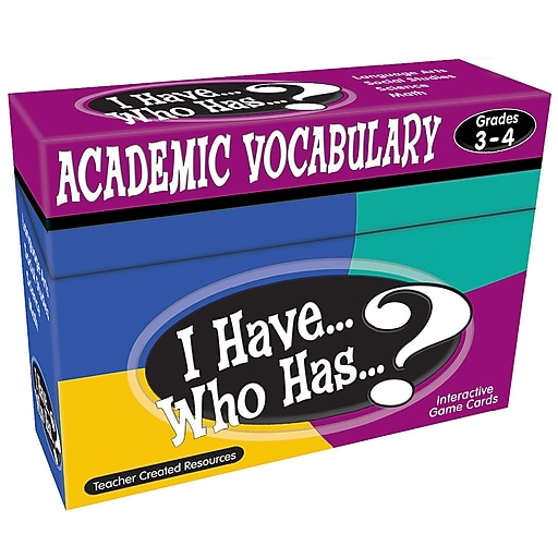 Teacher Created Resources® I Have... Who Has...? Academic Vocabulary Games, Grades 3-4