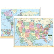"Universal Map® Us & World Notebook Map, 8-1/2"" X 11"""