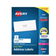 """Avery Easy Peel White Address Labels, Sure Feed Technology, Laser, Permanent, 1"""" x 4"""", 2,000 Labels (5161)"""