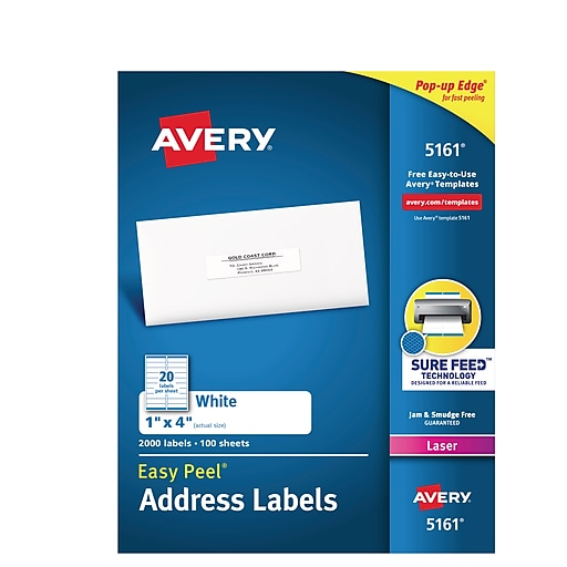 avery 1 x 4 laser address labels with easy peel white 2 000 box