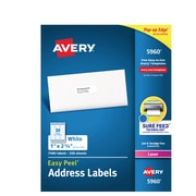 """Avery Easy Peel White Address Labels, Sure Feed Technology, Laser, Permanent, 1"""" x 2-5/8"""", 7,500 Labels (5960)"""