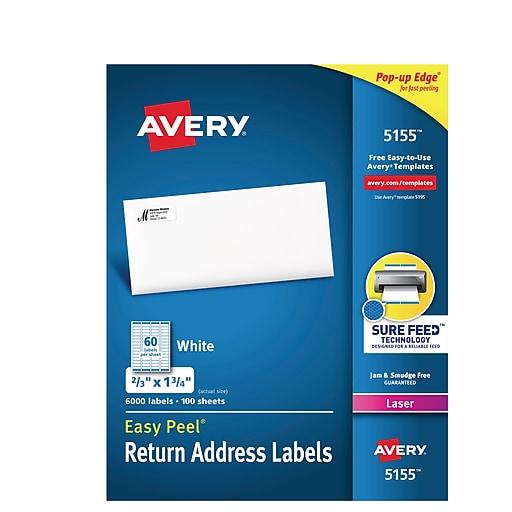 Avery 0 67 Quot X 1 75 Quot Laser Easy Peel White Return Address