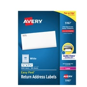 """Avery Easy Peel White Return Address Labels, Sure Feed Technology, Laser, Permanent, 1/2"""" x 1-3/4"""", 8,000 Labels (5167)"""