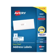 """Avery Easy Peel White Address Labels, Sure Feed Technology, Inkjet, Permanent, 1"""" x 2-5/8"""", 3,000 Labels (8460)"""