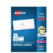 """Avery White Address Labels, Sure Feed Technology, Laser/Inkjet, Permanent, 1"""" x 2-5/8"""", 7,500 Labels (45160)"""