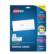 "Avery Easy Peel White Address Labels, Sure Feed Technology, Laser/Inkjet, Permanent, 1"" x 2-5/8"", 300 Labels (18160)"