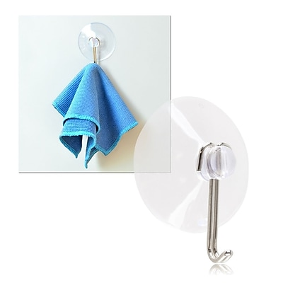 Insten Wall Glass Door Suction Cup 1/2inch with Metal Drop Hook of Clear Cups For Bedroom Kitchen Bathroom (1712244)