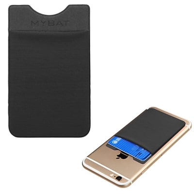 Insten 3M Adhesive Card Pouch Sticker Credit Card Holder Sleeve Cover Universal Mobile Phone, Black