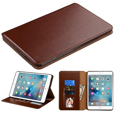 Insten Premium Slim fit Leather Stand Case for Apple iPad Mini 4 4th Gen 2015 (with Card Slot Holder) Brown