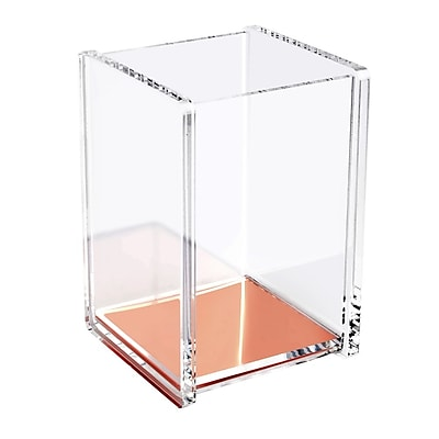 Insten Acrylic Clear Rose Gold Pen, Pencil and Ruler Holder Cup, Deluxe Design Stationery Desktop Organizer (2174127)