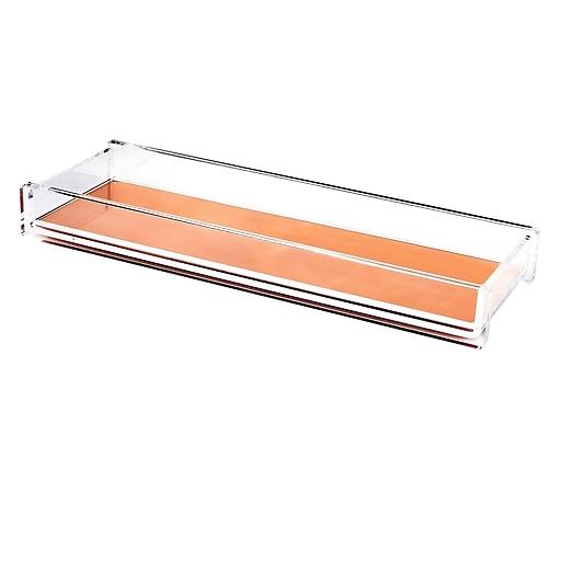 Insten Acrylic Pencil/Pen Stationery/Desktop Organizer Tray, Clear/Rose Gold Deluxe Design (2174130)