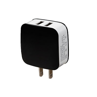 Insten 2.1A Travel AC Wall Charger Adapter with Dual USB Output Charging Ports - Black/Gray