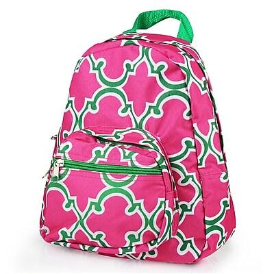 Zodaca Bright Stylish Kids Small Backpack Outdoor Shoulder School Zipper Bag Adjustable Strap - Pink Quatrefoil