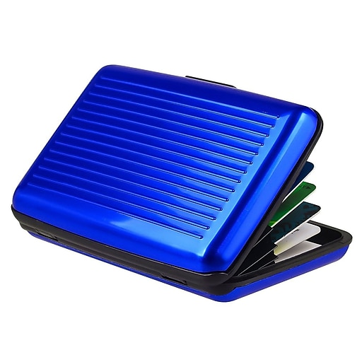 Insten Aluminum Business Card Case With Snap Closure Blue Staples