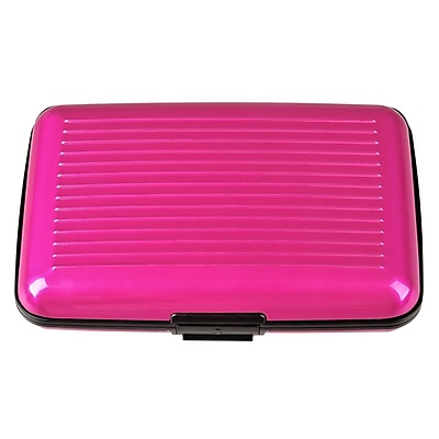 Insten® Aluminum Business Card Case With Snap Closure, Pink