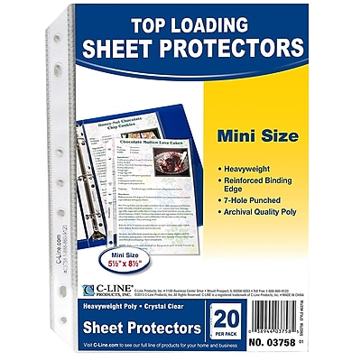 C-Line® Mini Top Loading Poly Sheet Protector, Clear