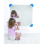 """Childrens Factory® Mirror With Mirror Corners And Side Safes, 24"""" Square"""