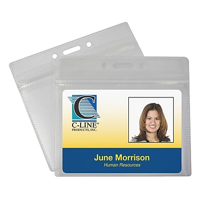 C-Line® Zippered Badge Holders, Horizontal, 50/Pack