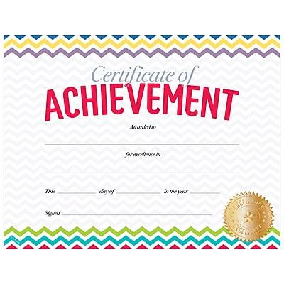 Creative Teaching Press Chevron Certificate of Achievement Large Awards 8-1/2