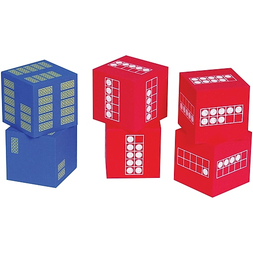 Learning Advantage Ten Frame Foam Dice, 4 red and 2 blue, Ages 6-10 (CTU7297)