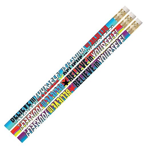 Musgrave Pencil Company Believe In Yourself Pencils, Multicolor, 144/Pack (MUS2283G)