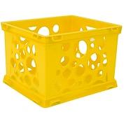 """Storex Mini Crate School, 9""""L x 7.75""""W x 6""""H, Yellow, Set of 6 (STX61492U24C)"""