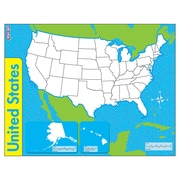 "Trend Enterprises® United States, Wipe-Off® Map, 22"" x 17"", 1 each (T-27301)"