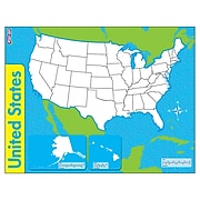 """Trend Enterprises® United States, Wipe-Off® Map, 22"""" x 17"""", 1 each (T-27301)"""