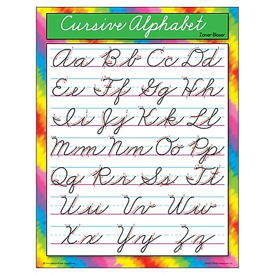 Cursive Alphabet (Zaner-Bloser) Learning Chart