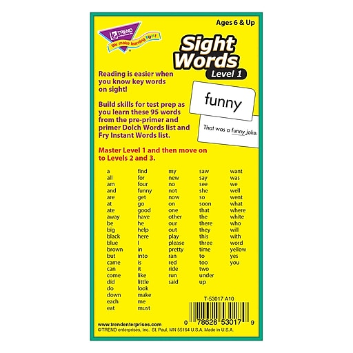 Sight Words – Level 1 Skill Drill Flash Cards for Grades 1-2, 96 Pack  (T-53017)