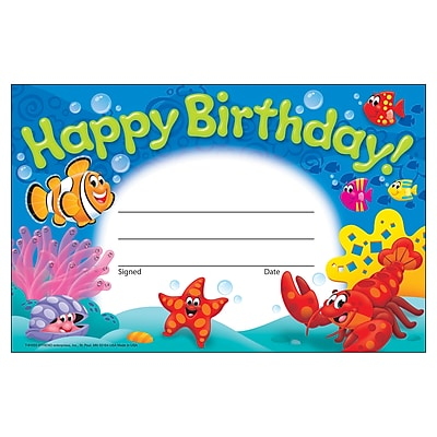 Trend Enterprises® Happy Birthday! Sea Buddies™ Recognition Award, 30/Pack