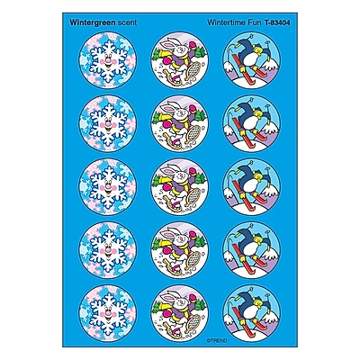 Trend® Stinky Stickers®, Large Round, Wintertime Fun Sccented Wintergreen