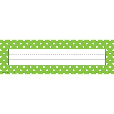 Teacher Created Resources Name Plates, Lime Polka Dots, Flat