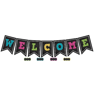 Teacher Created Resources Chalkboard Brights Pennants Welcome, 48/Pack (TCR5614)