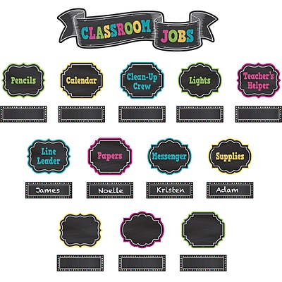 Teacher Created Resources Chalkboard Brights Classroom Jobs, 51/Set (TCR5653)