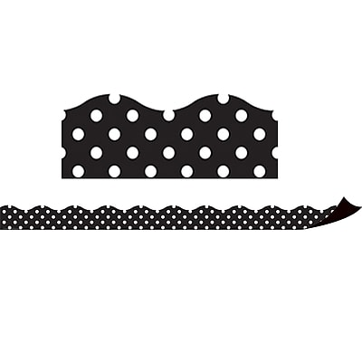 Teacher Created Resources Magnetic Borders, Black Polka Dots, 24