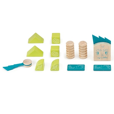 Tegu Wooden Zip Zap Block Set, Assorted, 12 Pieces (TEGZPZMSM605T)