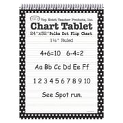 "Top Notch Teacher Products Chart Tablet, 1.5"" Ruled Flip Chart, 24"" x 32"", Black Polka Dot, 25 Sheets (TOP3849)"