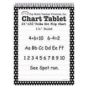 "Top Notch Teacher Products Chart Tablet, 1.5"" Ruled Flip Chart, 24"" x 32"", Black Polka Dot, 25 Sheets (TOP3849)"