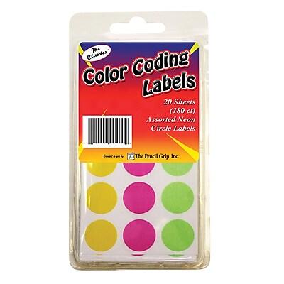Pencil Grip™ Neon Circle Labels, 180/PK, 12 PK/BD