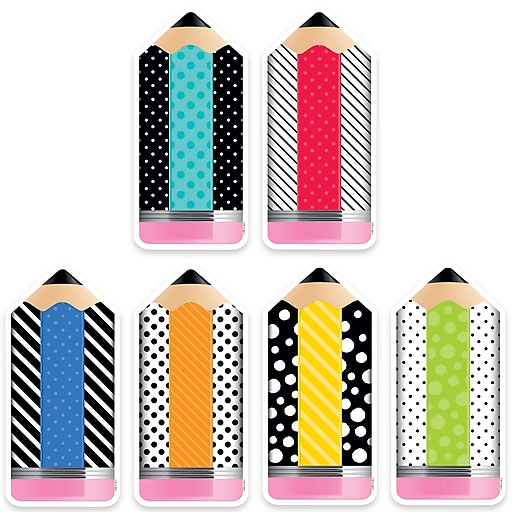 """Creative Teaching Press 6"""" Designer Cut-Outs, Bold & Bright Striped & Spotted Pencils (CTP3283)"""