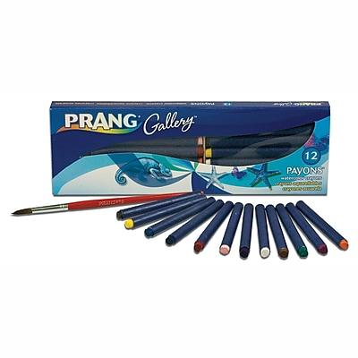 Prang® (Dixon Ticonderoga®) Payons Watercolor Crayons with Brush, Assorted Colors, 12/Set