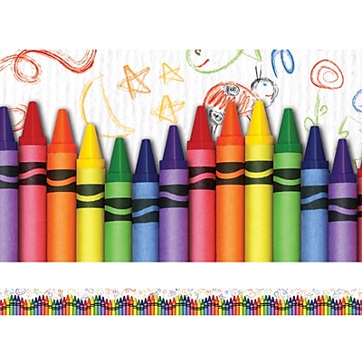 Edupress® Pre School - 12th Grades Straight Layered-Look Border, Crayons, 2/Bd