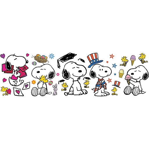 "Eureka Peanuts 24.75"" x 17"" Spring Summer Snoopy Poses Bulletin Board Set  (EU-847684)"